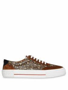 Burberry Suede Detail Monogram Stripe Sneakers - Brown