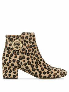 Tila March leopard print ankle boots - Brown
