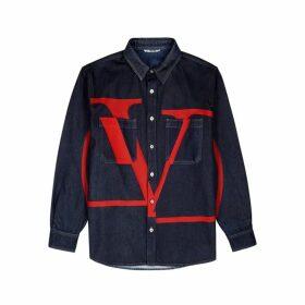 Valentino Blue Logo-print Denim Overshirt
