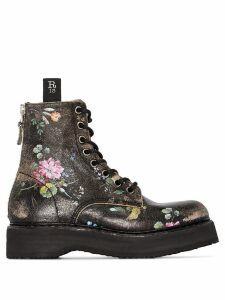 R13 floral-print textured-leather ankle boots - Black