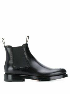 Santoni brogue detail ankle boots - Black