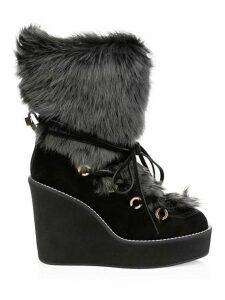 Nikita Lamb Fur-Trim Suede Platform Wedge Boots