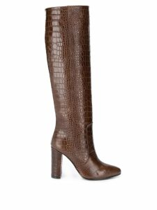 Via Roma 15 embossed tall boots - Brown