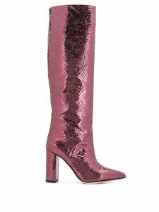 Paris Texas embossed knee boots - Neutrals