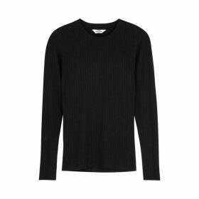 MADS NORGAARD Tuba Black Ribbed Stretch-jersey Top