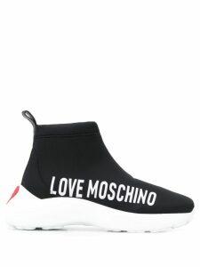 Love Moschino hi-top logo sneakers - Black