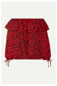 MICHAEL Michael Kors - Off-the-shoulder Ruffled Printed Fil Coupé Chiffon Top - Red