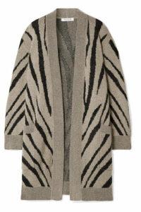 Max Mara - Carlo Oversized Zebra-intarsia Knitted Cardigan - Mushroom