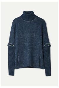 Chloé - Convertible Button-detailed Knitted Turtleneck Sweater - Navy