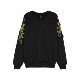 RAGYARD Black Appliquéd Cotton-blend Sweatshirt