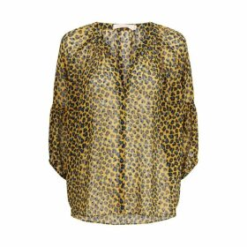 Traffic People Folklore Animal Print Top In Mustard