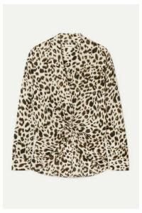 L'Agence - Mariposa Twist-front Leopard-print Silk-georgette Blouse - Cream
