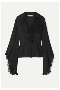 Michael Kors Collection - Ruffled Silk-georgette Blouse - Black