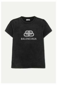 Balenciaga - Metallic Printed Cotton-jersey T-shirt - Anthracite
