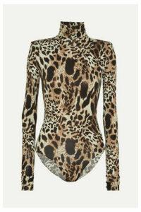 Alexandre Vauthier - Leopard-print Stretch-jersey Turtleneck Bodysuit - Leopard print