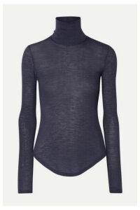 Frances de Lourdes - Lucie Slub Cashmere And Silk-blend Turtleneck Top - Gray
