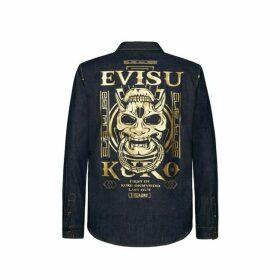 Evisu Hannya Skull Print Denim Shirt