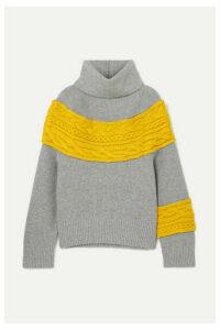 Sacai - Cable Knit-paneled Wool-blend Turtleneck Sweater - Gray