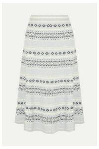 Adam Lippes - Fair Isle Knitted Midi Skirt - Light gray