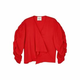 A.W.A.K.E MODE Red Puff-sleeve Top