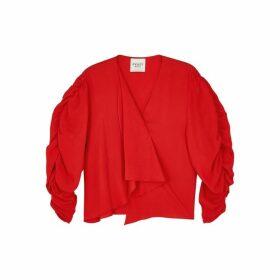 A.W.A.K.E MODE Red Puff-sleeve Top