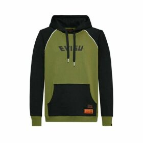 Evisu Kamon Printed Color Blocking Oversized Hoodie