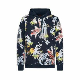 Evisu Hooded Sweatshirt With Allover Carp Print