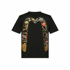 Evisu T-shirt With Godhead And Map Daicock Foil Print