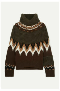 Sacai - Fair Isle And Waffle-knit Wool-blend Turtleneck Sweater - Brown