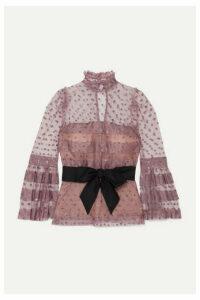 Anna Mason - Mademoiselle Glittered Polka-dot Tulle Blouse - Pink