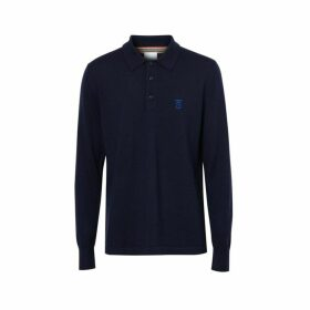 Burberry Long-sleeve Monogram Motif Merino Wool Polo Shirt