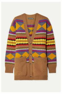 ALEXACHUNG - Intarsia Wool Cardigan - Camel