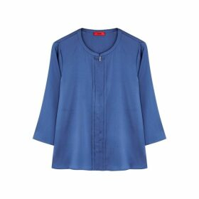 HUGO Casali Blue Stretch-silk Blouse