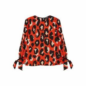 Paule Ka Red Leopard-print Cotton-blend Blouse