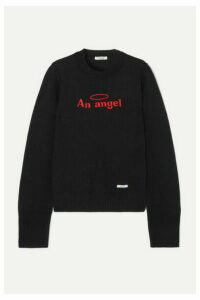 BLOUSE - An Angel Embroidered Cotton And Wool-blend Sweater - Black