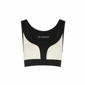 Live The Process Geometric Panelled Stretch-jersey Bra Top