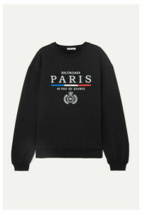 Balenciaga - Embroidered Cotton-jersey Sweatshirt - Black