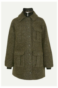 GANNI - Ribbed Jersey-trimmed Wool-blend Bouclé Jacket - Army green