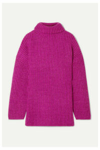 Acne Studios - Disa Oversized Ribbed Mélange Wool Turtleneck Sweater - Magenta