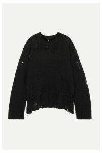 R13 - Oversized Distressed Cashmere Sweater - Black