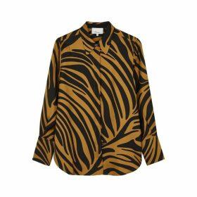 3.1 Phillip Lim Caramel Zebra-print Silk Shirt
