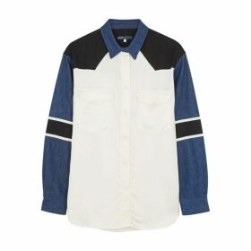 Levi's Made & Crafted Panelled Satin And Denim Shirt