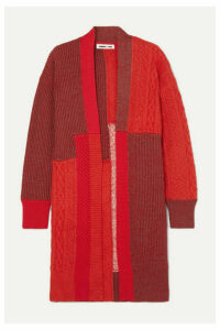 McQ Alexander McQueen - Oversized Patchwork Knitted Cardigan - Red