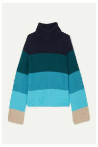 Mary Katrantzou - Daisy Oversized Striped Merino Wool-blend Turtleneck Sweater - Blue