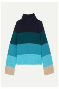 Mary Katrantzou - Daisy Oversized Striped Merino Wool-blend Turtleneck Sweater - Blue