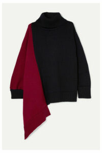 Monse - Oversized Asymmetric Two-tone Merino Wool Turtleneck Sweater - Navy