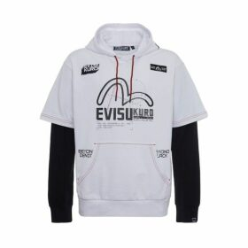Evisu 2-in-1 Long Sleeve Hoodie With Space-themed Print