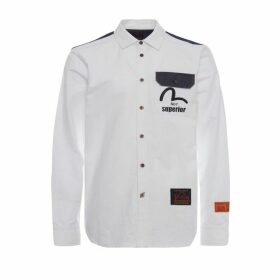 Evisu Fabric-blocking Oxford Shirt With Logo Print