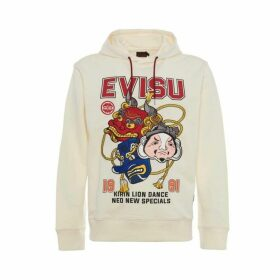 Evisu Lion Dance Mask Embroidered Off-white Hoodie