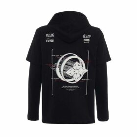 Evisu Kamon Planet Print 2-in-1 Hooded Long Sleeve T-shirt